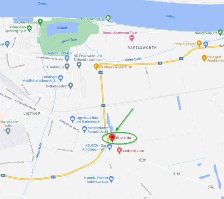Standort Trainingsplatz Tulln - Screenshot Google Maps